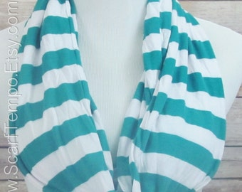Blue Scarf, Turquoise Infinity Scarf. Blue Turquoise  Scarf.  Blue  Striped  Scarf. Scarf.loop Scarf.Circle Scarf. Infinity Scarf.