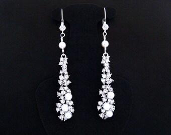 Long Rhinestone Earrings,Quinceanera Earring,Special Occasion Earrings,Special Occasion Jewelry,Rhinestone Earrings,Rhinestone Pearl Earring
