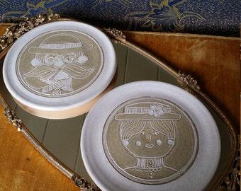 "HARD TO FIND!  Vintage Set of 2 Signed James E. Sanders Mid Century Folk Art Handmade Pottery Plates~6 1/2"" Diameter ea."