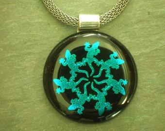 Spiral Lizards on Teal Blue dichroic glass