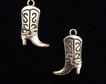12 Pieces Boot Charm Pendant Reversible, Double Sided Boot Charm 24x14mm Antique Silver Finish, Cowgirl Boot Charms 12-14-S