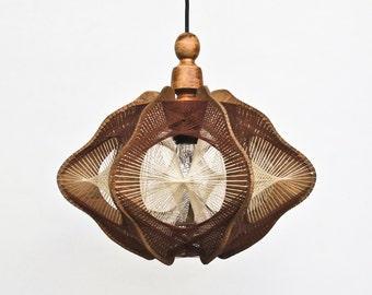 Vintage String Art Handmade Wooden Ceiling  Lamp /  Pendant light  / 70s Yugoslavia