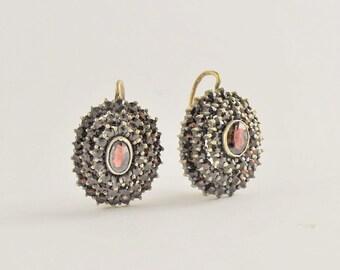 Vintage Bohemian Garnet Earrings - Euro backs - Vermeil