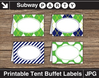 Golf Party Food Labels. Navy Blue, Green Argyle, Stripes & Golf Balls. Printable Table Tents / Editable Buffet Cards INSTANT DOWNLOAD