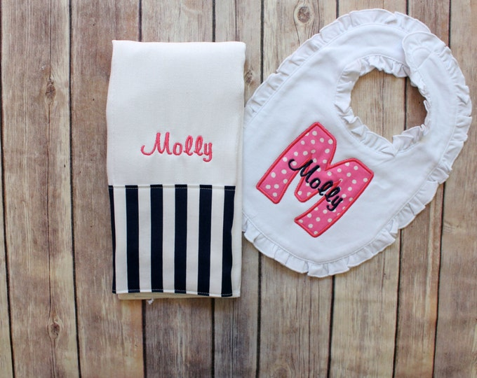 Monogrammed Baby Girl burp Cloth Ruffle Bib Set, Monogrammed Girl Set, Baby Girl Gift, Baby Shower Gift, Navy Pink Baby Girl, Monogram Girl