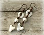 Bohemian White Glass Earrings, Ceramic Heart Earrings, Copper Wire Earrings, Rustic Romantic Boho Earrings, Copper Earwires.