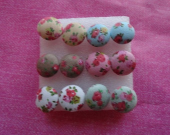 Floral button cloth stud earrings -Buy one get one free