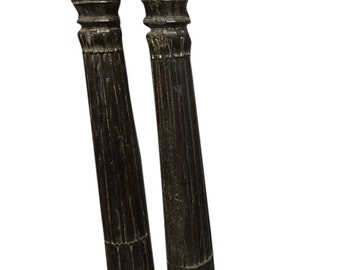 Indian Antique Hand Carved Architectural Pillars Columns Teak Rustic Gujrat Architecture 19c Giant Candlestands