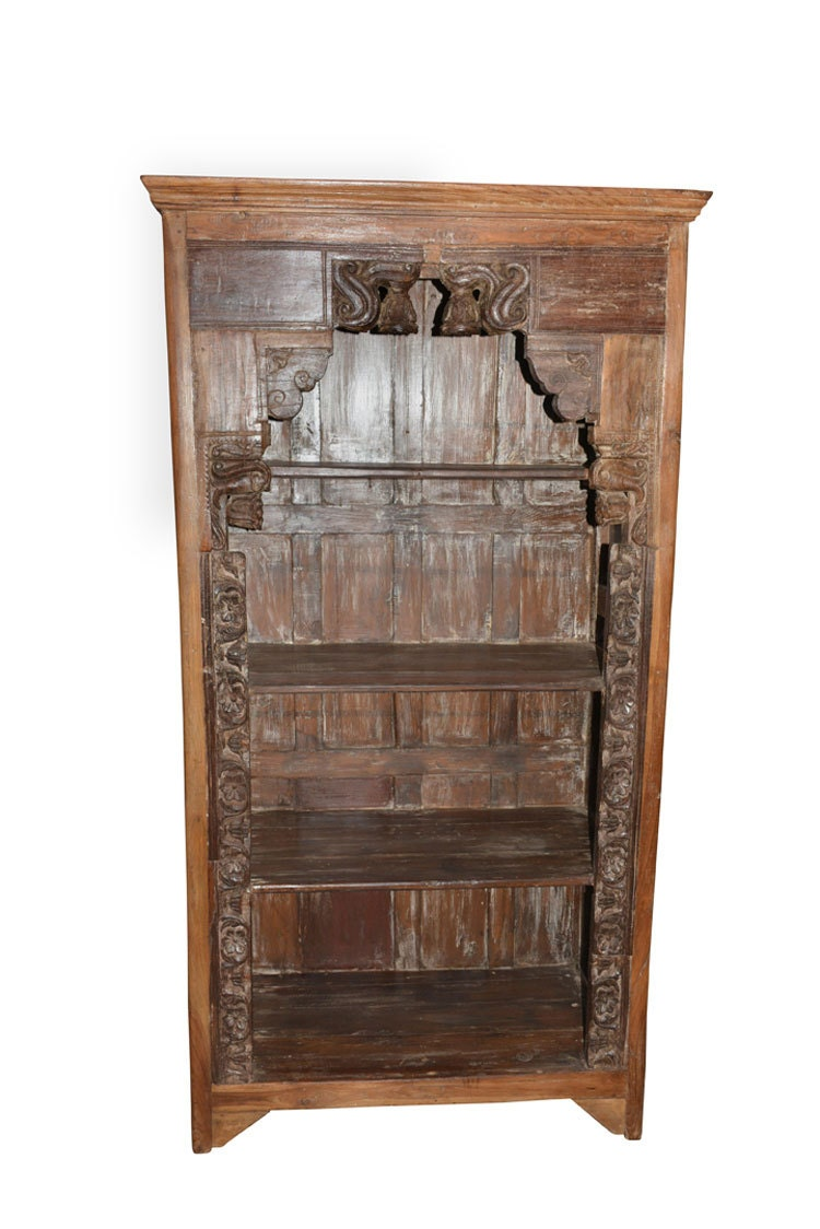 Hand Carved Bookshelf ~ Antique hand carved bells book case bookshelf arched frame