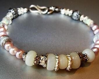 Ethiopian Opal, White Opal, Pink Freshwater Pearl Bracelet in Sterling and Tibetan Silver