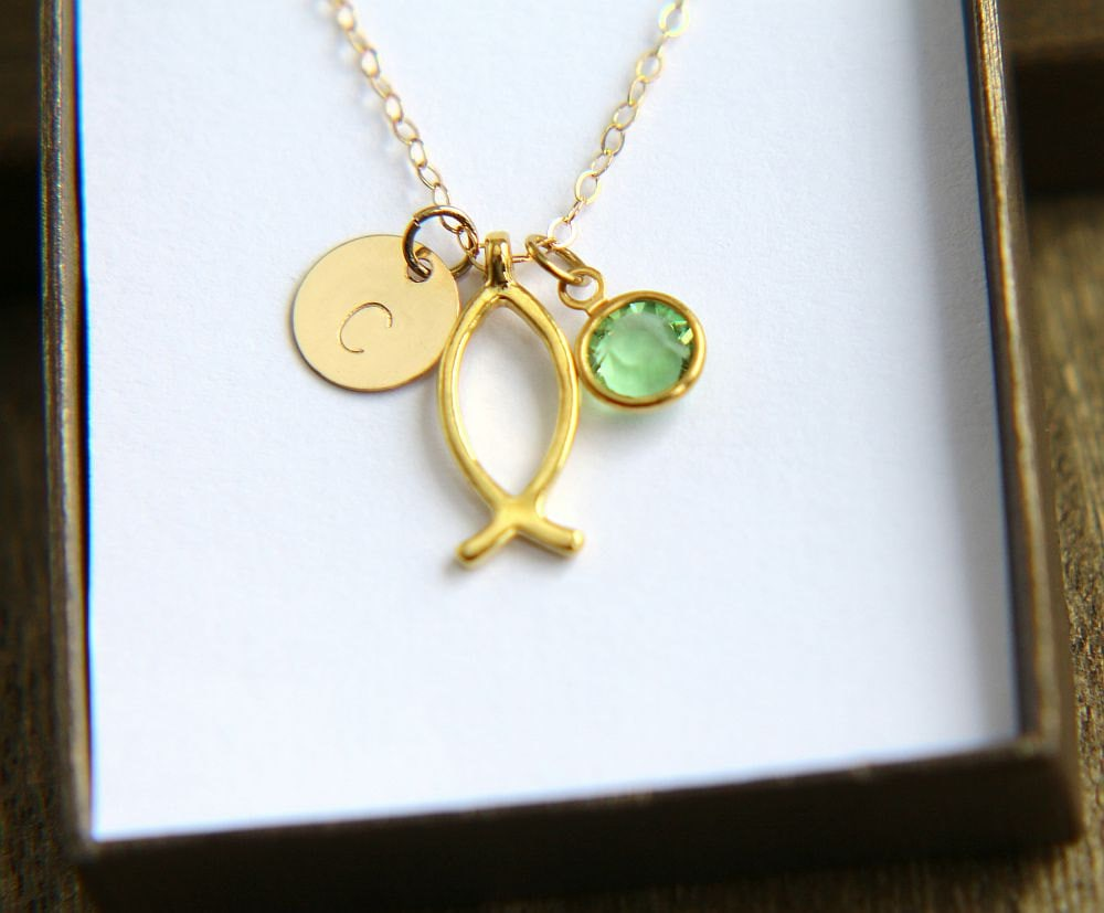 Christian fish necklace personalized necklace ichthys for Jesus fish necklace