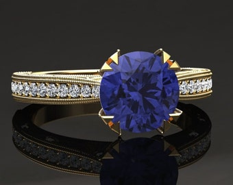 Tanzanite Engagement Ring Tanzanite Ring 14k or 18k Yellow Gold Matching Wedding Band Available W21TANZY