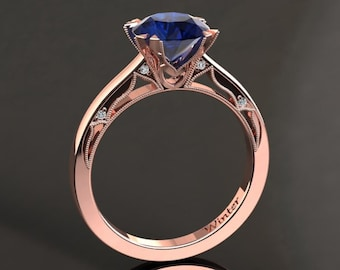 Blue Sapphire Engagement Ring Blue Sapphire Ring 14k or 18k Rose Gold Matching Wedding Band Available W22BUR