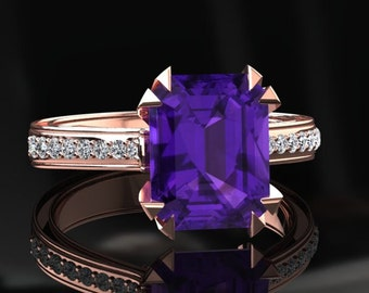 Amethyst Engagement Ring 2.00 Carat Emerald Cut Amethyst And Diamond Ring In 14k or 18k Rose Gold. Matching Wedding Band Available W13PUR