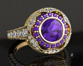 Amethyst Engagement Ring Amethyst Ring 14k or 18k Yellow Gold W33PUY