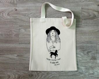 Tote Bag - Screenprint Over Cotton Canvas Tote Bag Patti Smith
