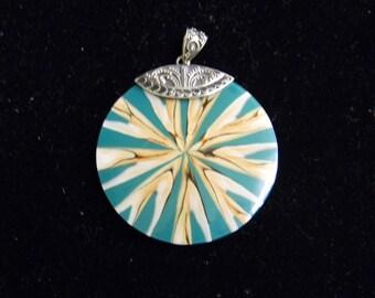 """Sterling Silver 925 Spectacular Sun Burst pendant. 1 1/2"""" Long ET 6078"""