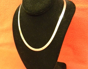 """Sterling Silver 925 Gorgeous Skinny Long Herringbone Necklace, Chain is 20"""" in length #6235"""