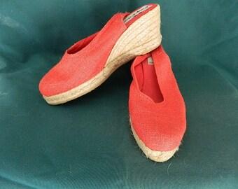 Vintage espadrille wedge sling back red shoes size 7
