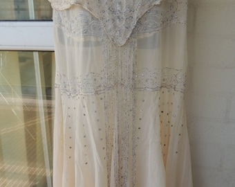 50% OFF PRICE Vintage  Authentic 1920s Sheer Cream Silver Beaded Rhinestone  Deco Gatsby Flapper  Dress SALVAGE Only
