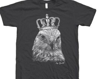 SUMMER SALE Hawk Shirt Screen Print on American Apparel Crew Neck Tshirt Available: S , M , L , Xl , Xxl