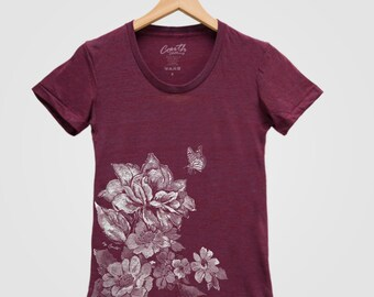 FLOWER PRINT Shirt Women Custom Hand Screen Print Tri-Blend Short Sleeve Tshirt Available: S, M, L, XL