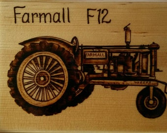 Farmall F12 Antique tractor wood burning pyrography plaque