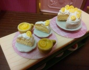 Lemon cake 1:12 scale Miniature Food realistic miniature Cake fairy garden food doll dollhouse miniature food