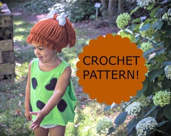 CROCHET PATTERN. Pebbles Flinstones Inspired Wig Hat. Cave Person