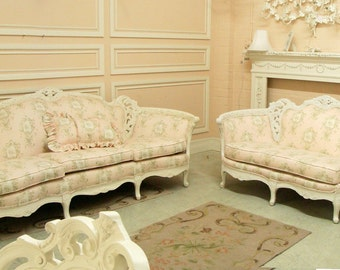 Stunning Vintage Antique Sofa and Loveseat French Country Shabby Chic