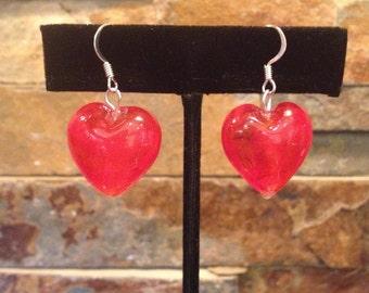 Red Glass Foil Heart Earrings