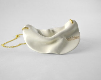 Statement white porcelain necklace with gold accents- modern minimalist jewelry made in Spain