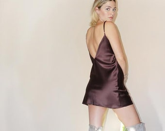CHOCOLATE SILK Slip Dress | Plush and Rich Dark Brown Charmeuse Silk | Wonderful and Fashionable for Evening or Day Wear |