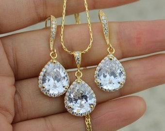 gold bridal jewelry set gold wedding jewelry set wedding earring bridal earring bridesmaid jewelry set