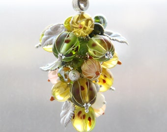 Glass lampwork pendant with gooseberry and white currant
