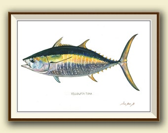 PRINT- Yellowfin tuna fish- Tuna painting art print - Tuna fish art nursery ocean sport fishing decor - Art Print by Juan Bosco