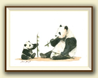 PRINT-Panda & cub animal - Giant pandas eating bamboo painting watercolor - Giant panda art nursery animal decor - Art Print by Juan Bosco