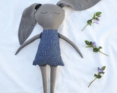 Grey Bunny Doll, handmade cotton bunny doll in a blue dress, READY TO SHIP