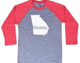 Homeland Tees Georgia Home Tri-Blend Raglan Baseball Shirt