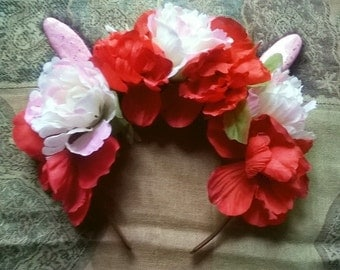 Pink and Red Flower Headband with Bunny Ears