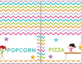 Gymnastic Tent Cards | Tumble Buffet Cards | Gymnastic Labels | Gymnastic  Birthday Party Printables