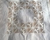 Small Victorian Doily White Linen Handmade French Cut Works