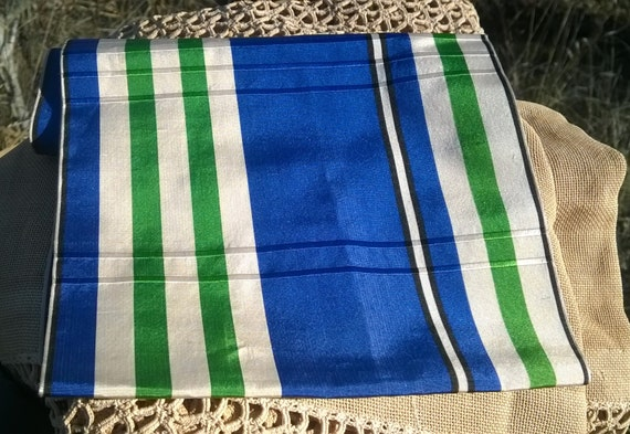 Large Victorian Blue Silk Plaid Ribbon Extra Wide Double Sided French Trim Blue Green Sewing Project Costume Collectible #sophieladydeparis