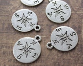 5 Compass Charms Compass Pendants Antiqued Silver Tone 20 mm
