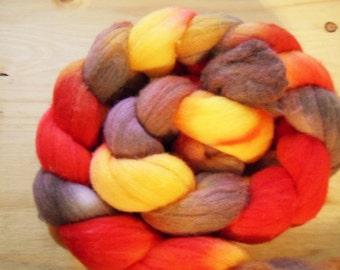 "Hand Dyed Merino Roving, 4.41oz, ""Autumn"""
