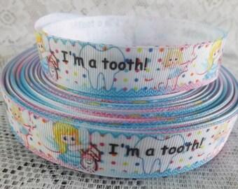 Tooth ribbon teeth ribbon dental ribbon 7/8 teeth ribbon tooth Grosgrain Ribbon happy tooth ribbon