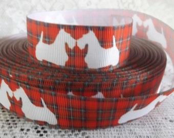 Scottish Terrier grosgrain ribbon Scottie Dog ribbon 7/8 dog printed Grosgrain ribbon