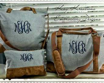 Monogram Carryall Weekender Duffle Bags Women/Girls (2 or 3 Piece Set) Monogrammed Brides Gifts - Duffle Set-Overnight Bag Travel