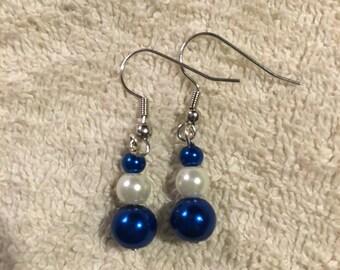 Blue and Cream Pearl Earrings