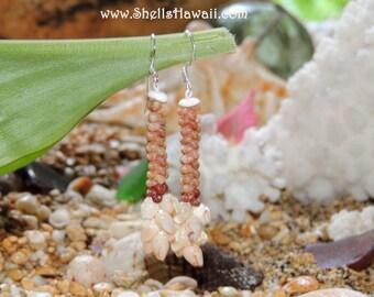 """1 1/2"""" double strand Kahelelani & Momi shell earrings"""